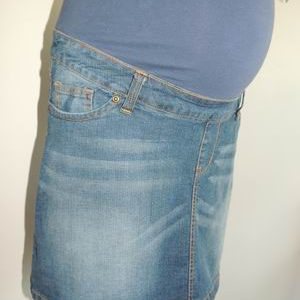 e981e06c7720a NEW Patchwork Denim Maternity Skirt in Vintage Wash | Serendipity ...