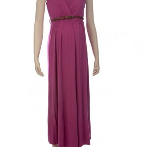 NEW Berry Ninth Moon Maternity Maxi Dress with Tan Belt